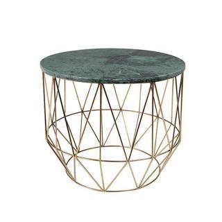 Table basse ronde BOSS plateau en marbre vert structure en fer teinte laiton
