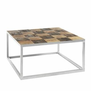 Table basse BRODER 80 x 80 cm metal silver plateau manguier