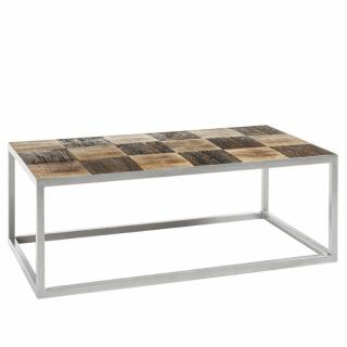 Table basse BRODER 100 x 60 cm metal silver plateau manguier