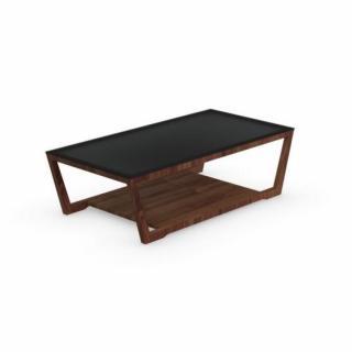 Table basse ELEMENT  noyer avec plateau en verre noir de