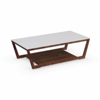 Table basse ELEMENT  noyer avec plateau en verre blanc