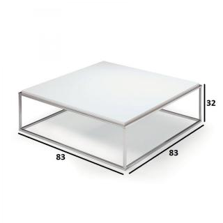 Table basse carrée MIMI XL blanc mat structure acier inoxydable poli