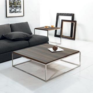 Table basse carrée MIMI XL céruse noyer structure acier inoxydable poli