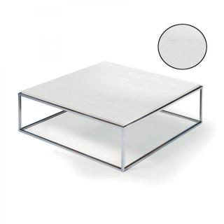 Table basse carrée MIMI XL blanc céruse structure acier inoxydable poli