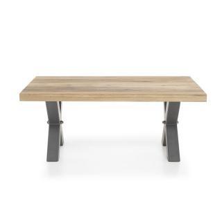 Table basse ANTIBES, plateau en chêne massif et acier