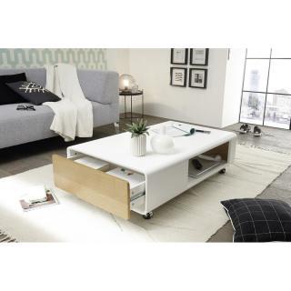 Table Basse Corinthe Blanc Laque Mat Et Placage Chene 1 Tiroir Sur Roulettes