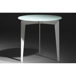 Table basse ronde DALLAS en verre dépoli blanc