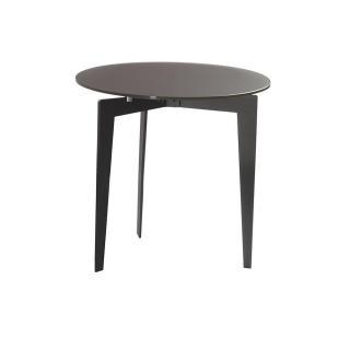 Table basse ronde DALLAS en verre dépoli noir