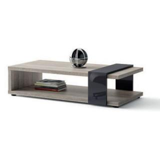 Table basse BROOKLYN chene gris verre gris