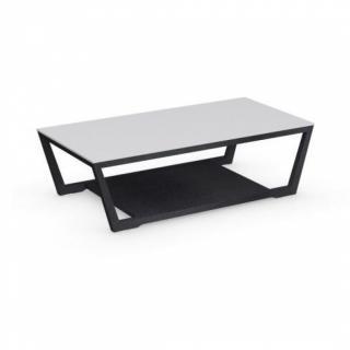 Table basse ELEMENT  graphite avec plateau en verre blanc