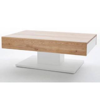 Table basse design CHANI 110 x 70 cm 2 tiroirs blanc laqué mat et décor chêne