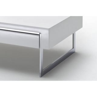Acier Basse Brillant Table Chromé Laqué Blanc Copenhague Piétement f6Ybg7y