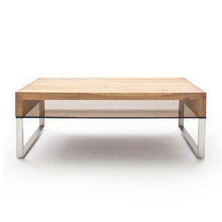 Table basse HIRSON en bois de chêne à noeud et acier