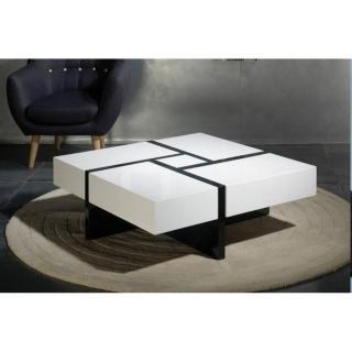 Table basse design MOLLY blanche et noire avec 4 tiroirs coulissants