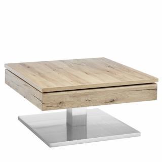 Table basse MONROE piétement métal placage chêne noueux