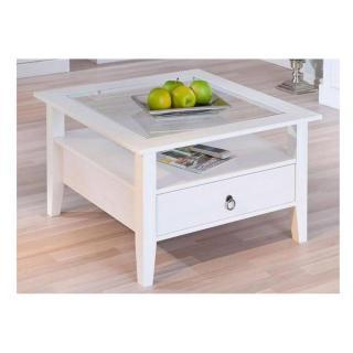 Table basse design PROVENCE blanche en pin massif et verre