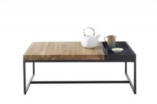 Table basse Lucon 107 x 65 cm bois acier plateau