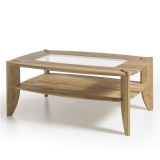Table basse TERRA 115 x 75 cm noyau de hêtre et verre