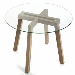 Table basse FERO plateau chêne pied eiffel
