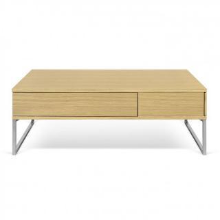 Table basse GAVETA chêne 3 tiroirs pied chrome
