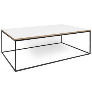 Tema Home Table basse rectangulaire GLEAM 120 plateau blanc mat structure laquée noir mat.