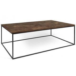 Tema Home Table basse rectangulaire GLEAM 120 plateau design rustique structure laquée noir mat.