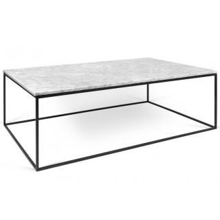 Tema Home Table basse rectangulaire GLEAM 120 plateau en marbre blanc structure noire