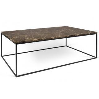 Tema Home Table basse rectangulaire GLEAM 120 plateau en marbre marron structure noire