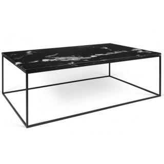 Tema Home Table basse rectangulaire GLEAM 120 plateau en marbre noir structure noire