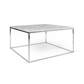 Table basse carrée GLEAM 50 plateau en marbre blanc structure chromée