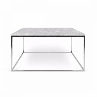 Table Basse Carrée Gleam 50 Plateau En Marbre Blanc Structure Chromée