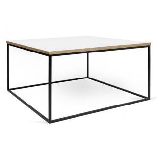 Tema Home Table basse carrée GLEAM 75 plateau blanc mat structure laquée noir mat