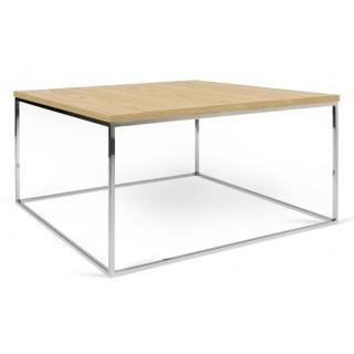 Tema Home Table basse carrée GLEAM 75 plateau chêne clair structure chromée