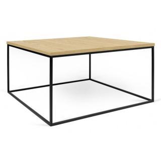 Tema Home Table basse carrée GLEAM 75 plateau chêne clair structure laquée noir mat