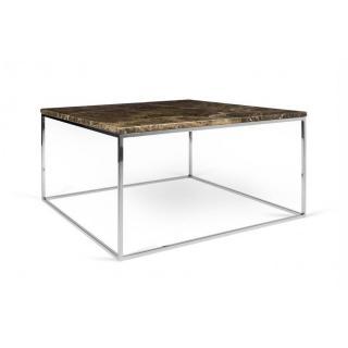 Tema Home Table basse rectangulaire GLEAM 75 plateau en marbre marron structure chromée