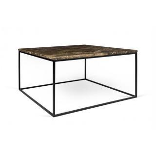 Tema Home Table basse rectangulaire GLEAM 75 plateau en marbre marron structure noire