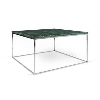 Tema Home Table basse rectangulaire GLEAM 75 plateau en marbre vert structure chromée