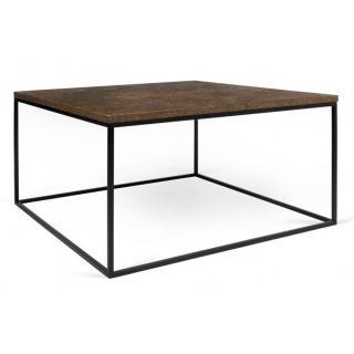 Tema Home Table basse carrée GLEAM 75 plateau design rustique structure laquée noir mat