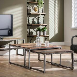 Table basse GRAINED double 80x80cm bois dur robuste