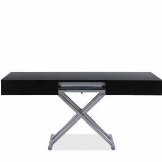 Table relevable extensible HARIE mélaminé bois noir