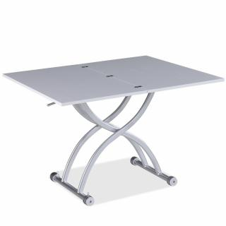 Table relevable extensible HIRONDELLE compacte mélaminé chêne blanc 100 x 57/114 cm