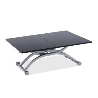 Table relevable extensible compacte HIRONDELLE mélaminé bois noir 100*57 cm