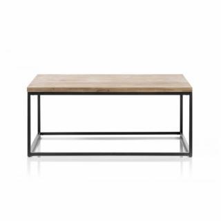 Table basse industrielle rectangulaire 110 cm SACY en chene massif et métal