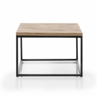 Table basse industrielle rectangulaire 70 cm SACY en chêne massif et métal