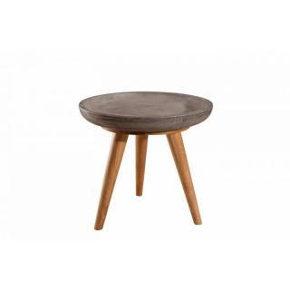 Table basse industrielle ronde 50 cm NINO en chêne et béton