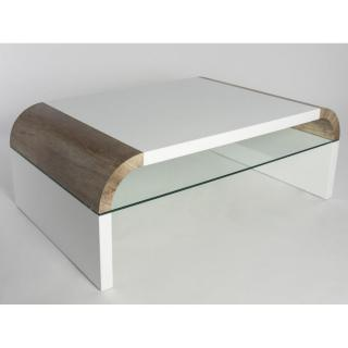Table basse design KANSAS blanche et chêne sauvage
