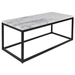 Table basse rectangulaire MARBLE POWER plateau en marbre blanc structure en acier noir mat