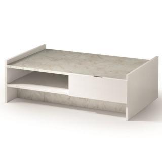 Table basse design MARVEL blanche plateau en marbre éclairage LED intégré