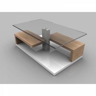 Table basse MAEVA chêne blanc de SONOMA avec rangements et roulettes.