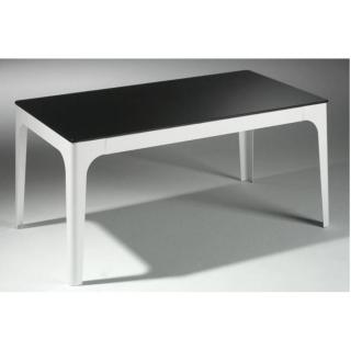 Table basse MILA en verre noir et piétement en acier laqué blanc